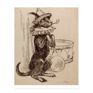 Begging Dog with Hat Ruff and Pipe in Mouth Postcard