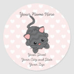 Begging Kitty  with Hearts Round Sticker