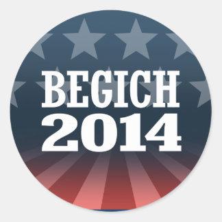 BEGICH 2014 ROUND STICKER