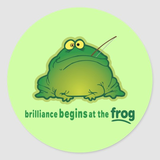 Begin At The Frog Funny Orchestra Joke Classic Round Sticker