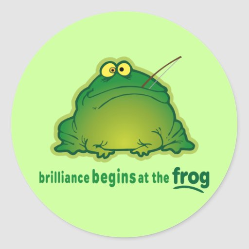 Begin At The Frog Funny Orchestra Joke Round Sticker