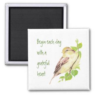 Begin Each Day Grateful Heart Motivational Sparrow Magnet