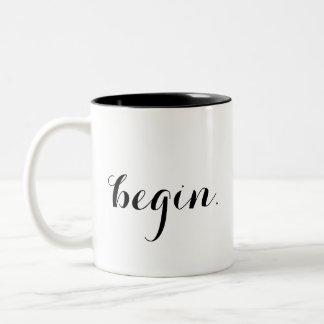 """begin."" mug"
