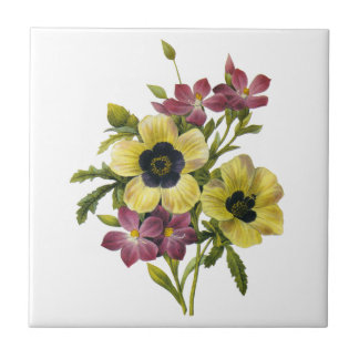 Begonia and Purple Periwinkles Redoute Bouquet Tile
