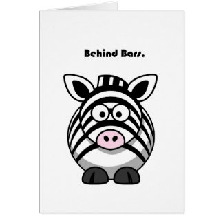 Behind Bars Zebra Cartoon Card