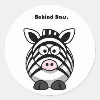 Behind Bars Zebra Cartoon Round Stickers