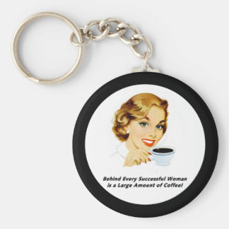 Behind Every Successful Woman Basic Round Button Keychain