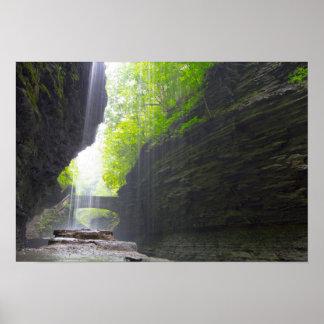 Behind Rainbow Falls, Watkins Glen, New York Poster