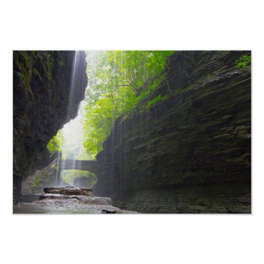 Behind Rainbow Falls, Watkins Glen, New York Poster
