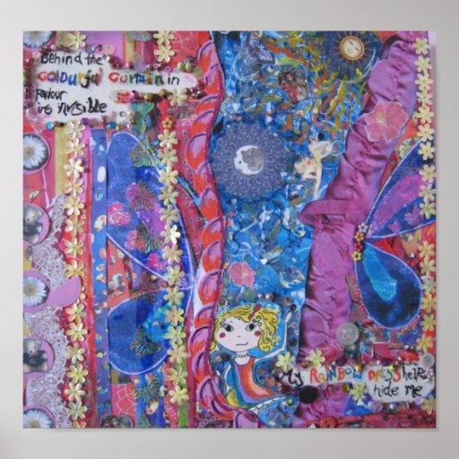 Behind the colourful curtain print