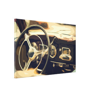 Behind the Wheel in an Old Classic Car Canvas