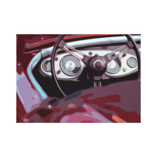 Behind the Wheel in Old Classic Automobile Car Canvas Print