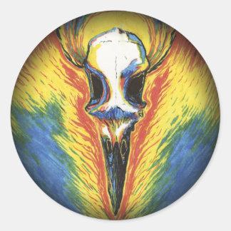 Behold! The Bone-White Bird Round Sticker
