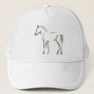 Beige abstract horse drawing in grey and tons - trucker hat