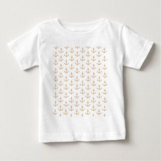 Beige Anchor Pattern Nautical Sailor Baby T-Shirt