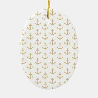 Beige Anchor Pattern Nautical Sailor Ceramic Ornament