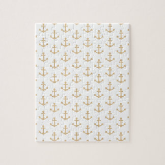 Beige Anchor Pattern Nautical Sailor Jigsaw Puzzle