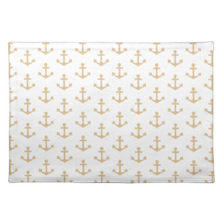 Beige Anchor Pattern Nautical Sailor Placemat