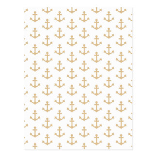 Beige Anchor Pattern Nautical Sailor Postcard