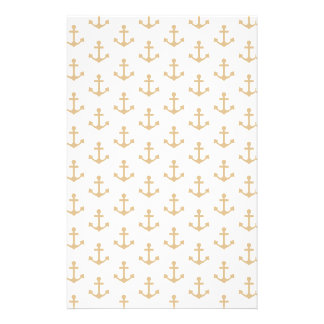 Beige Anchor Pattern Nautical Sailor Stationery