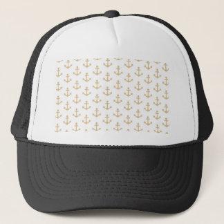 Beige Anchor Pattern Nautical Sailor Trucker Hat