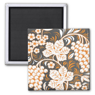 Beige and Black Hohloma Square Magnet