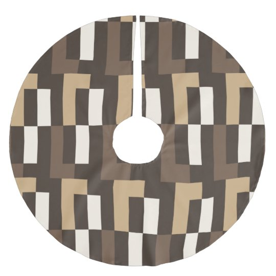 Beige and brown art deco brushed polyester tree skirt