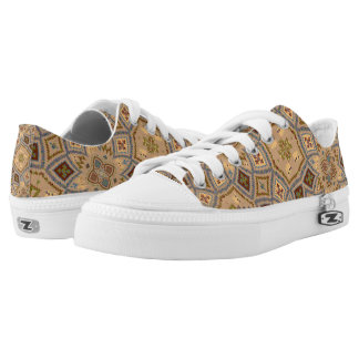 Beige And Brown Tones Ancient Pattern Low-Top Sneakers