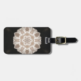 beige and cream floral abstract art luggage tag