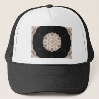 beige and cream floral abstract art trucker hat