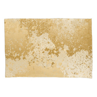 Beige and Gold Paint Splatter Pillowcase