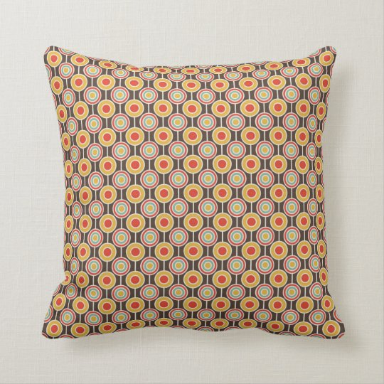 Beige and Gold Retro Pattern Throw Pillow