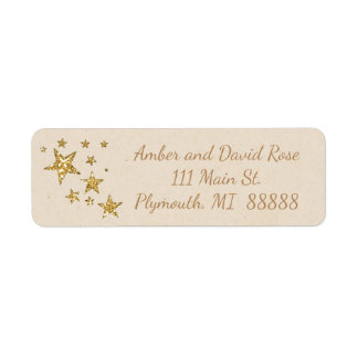 Beige and Gold Star Christmas Address Label