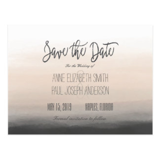 Beige and gray Ombre Save the Date Postcard
