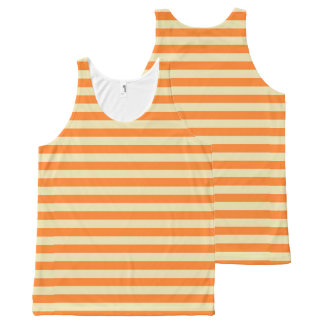 Beige and Orange Stripes All-Over-Print Tank Top