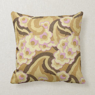 Beige and Pink Art Deco Design Throw Pillow