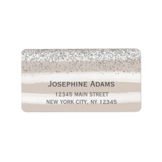 Beige and Silver Address Labels
