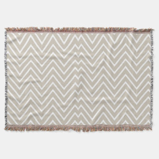 Beige and White Chevron Pattern 2 Throw Blanket