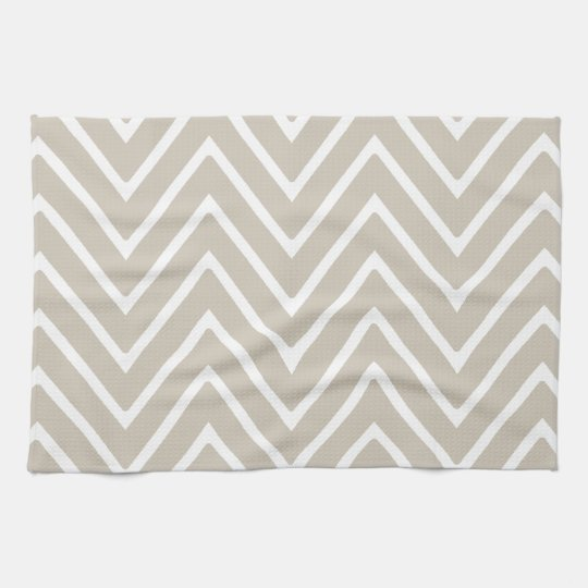 Beige and White Chevron Pattern 2 Towel