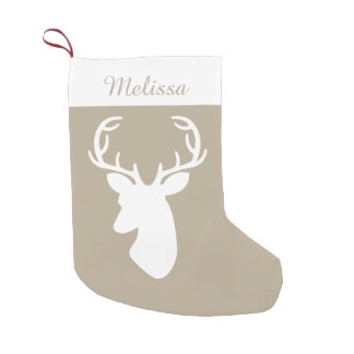 Beige And White Deer Head With Custom Name Small Christmas Stocking