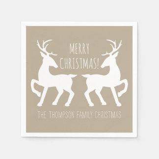 Beige And White Deers With Custom Text Christmas Paper Napkins