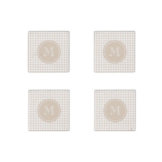 Beige and White Gingham, Your Monogram Stone Magnets