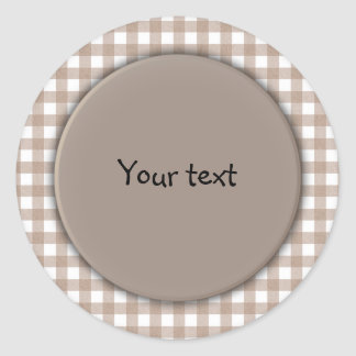 Beige and white plaid classic round sticker