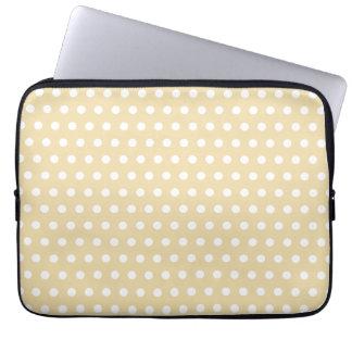 Beige and White Polka Dot Pattern. Spotty. Laptop Sleeve