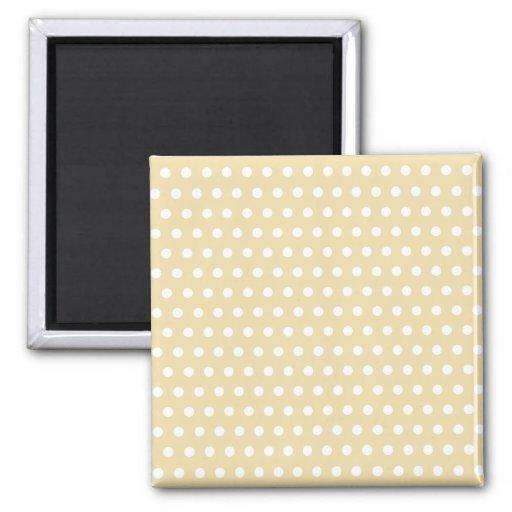 Beige and White Polka Dot Pattern. Spotty. Magnet