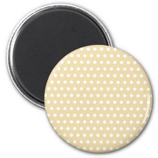 Beige and White Polka Dot Pattern Spotty Fridge Magnet