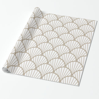 Beige And White Scallop Pattern Wrapping Paper