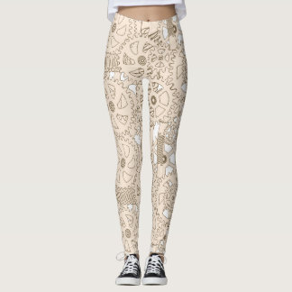 Beige and White Steampunk Gears Leggings