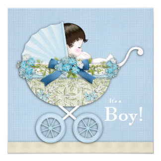 Beige Baby Blue Baby Carriage Boy Shower Card