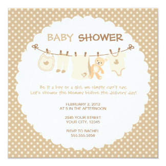 Beige Baby Clothes Line Shower Invitations